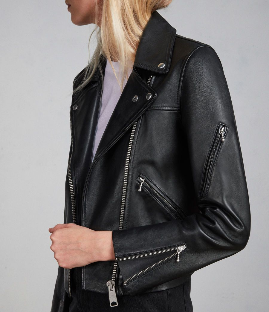 Womens Prescott Leather Biker Jacket (black) Image 4