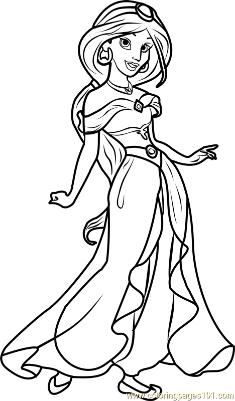 Princess Jasmine Coloring Page Princess Coloring Pages Cartoon