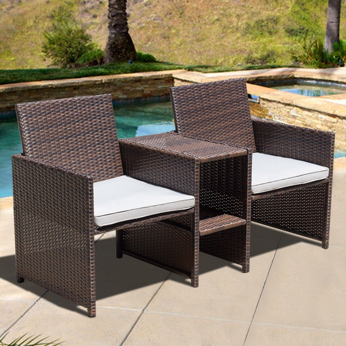 Outdoor rattan sofa chair furniture set with cushion furniture