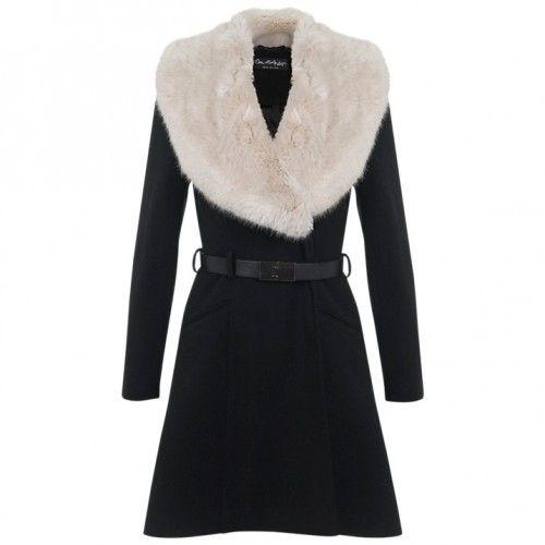 Miss Selfridge Faux Fur Collar Belted Coat £89
