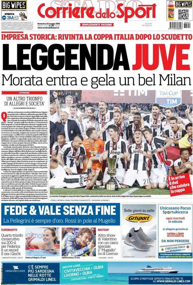 Prima pagina Corriere dello Sport Sport, Correre, Juventus