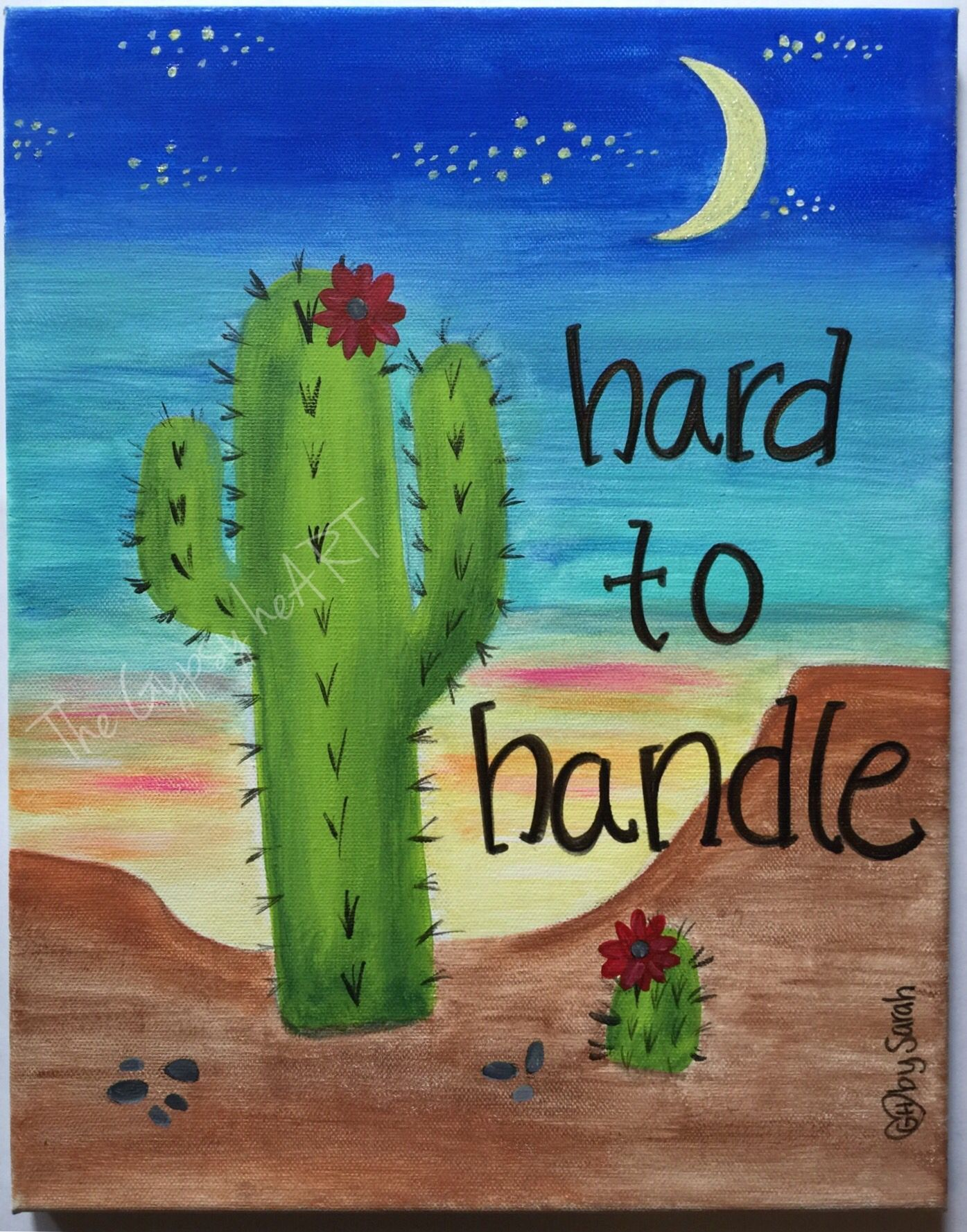 Hard to handle cactus canvas painting thegypsyheart