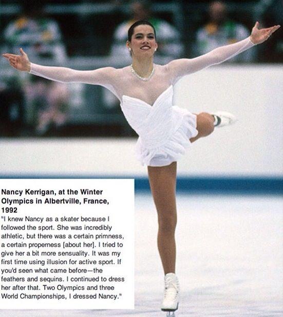 Nancy Kerrigan in Vera Wang at the 1992 Olympics.   Nancy