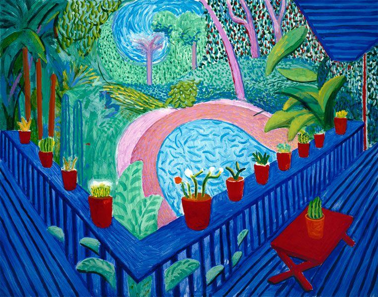 David Hockney, Red Pots in the Garden, 2000, oil on canvas, 152.4 ...