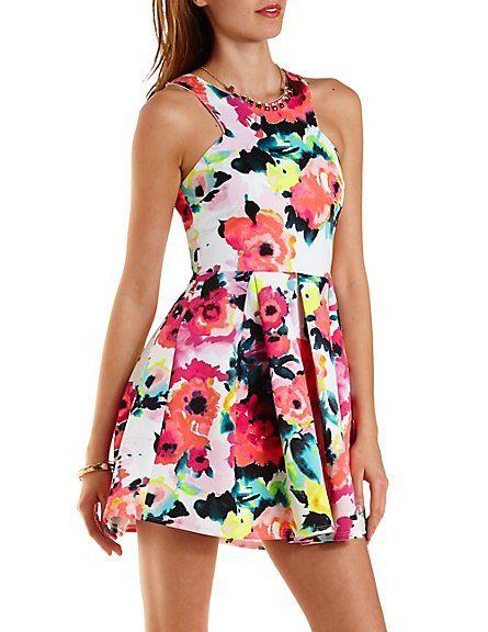 Neon Floral Racer Front Skater Dress  Charlotte Russe  spring  floral  dress e032fbb5be0