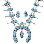 Zuni Turquoise Silver Snake Squash Blossom Effie Calavaza Necklace Set AX90305