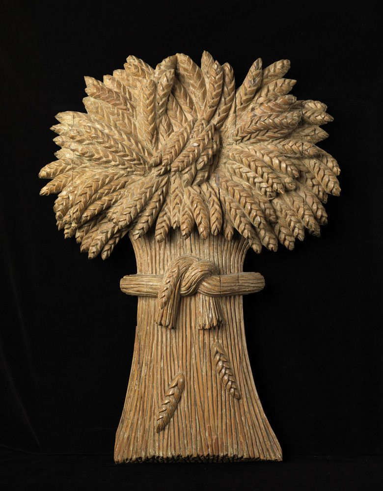 Unusual Pair Of Wheat Sheaf Form Bakery Signs  Solid Hand Carved Wood  With Traces of Historic Painted Surface   English, c.1850
