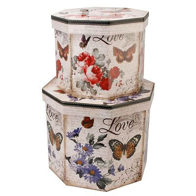 Decorative Boxes Uk Decorative Storage Boxes  Set Of Two  Butterfly Love Octagan