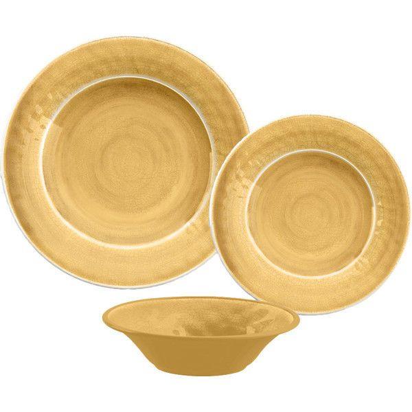 Gold Melamine Dinnerware Set 12 Piece Plastic Kitchen Outdoor Dining Plate  Bowl #MelamineDinnerwareSet