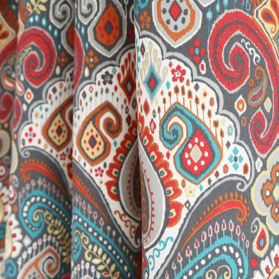 A Bohemian Inspired Fabric In Earthy Taupe Orange Bright Red Light Yellow Turquoise Grey And Living Room Turquoise Rustic Kitchen Decor Turquoise Curtains
