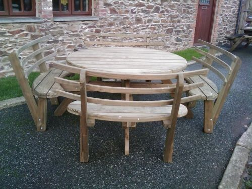 Astounding Round Table Benches Round Picnic Bench With Back Rest Inzonedesignstudio Interior Chair Design Inzonedesignstudiocom