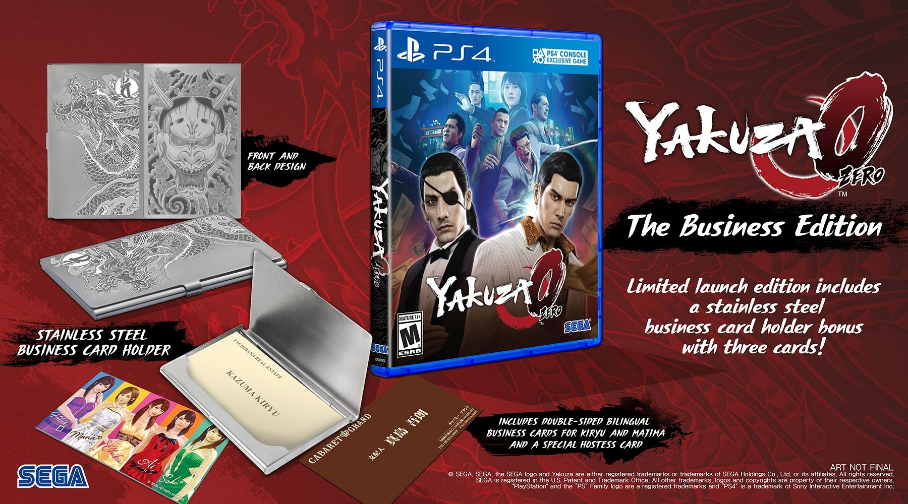 Yakuza 0 Special Edition Includes Custom Business Cards  Sega has just announced a limited-run special edition of the upcoming Yakuza 0 including some interesting collectibles to make you feel like you're part of the shadowy gangster organization.  The Business Edition features a stainless steel business card holder adorned with the tattoos of two of the game's main characters Kazuma Kiryu and Goro Majima. And yes you'll also get their business cards tucked inside in addition to a…