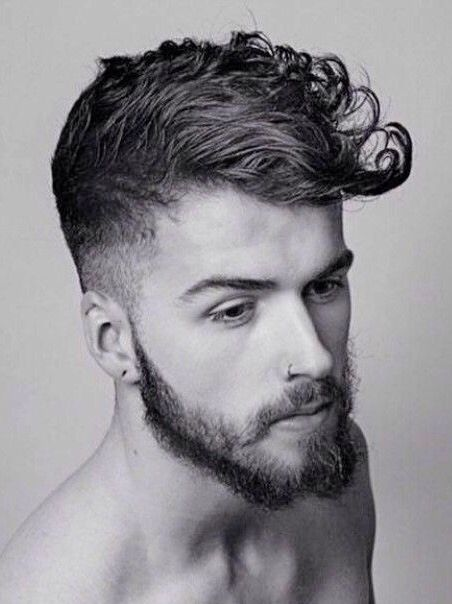 Mens Curly Hair Shaped Into A Modern Pompadour In 2019