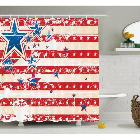 Free Shipping. Buy American Flag Decor Shower Curtain, USA National Star Figures and Horizontal Stripes Pride Grunge Decor Image, Fabric Bathroom Set with Hooks, 69W X 70L Inches, Red Blue, by Ambesonne at Walmart.com