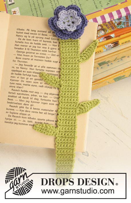 Marcador de páginas DROPS en ganchillo / crochet con flor en Safran ...