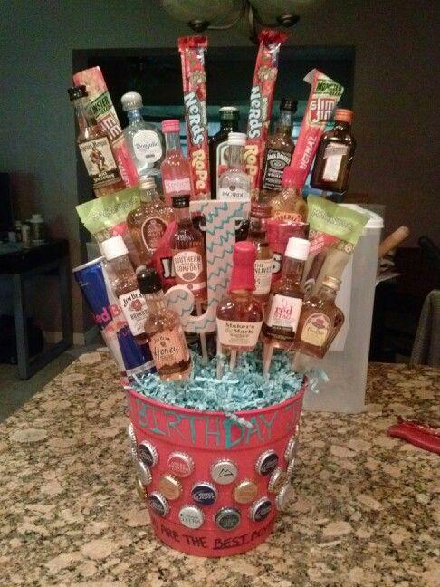 21St Birthday Gift Bucket I Made For My Boyfriends 21Stbirthday Guy Alcohol Loveit Diy Fun
