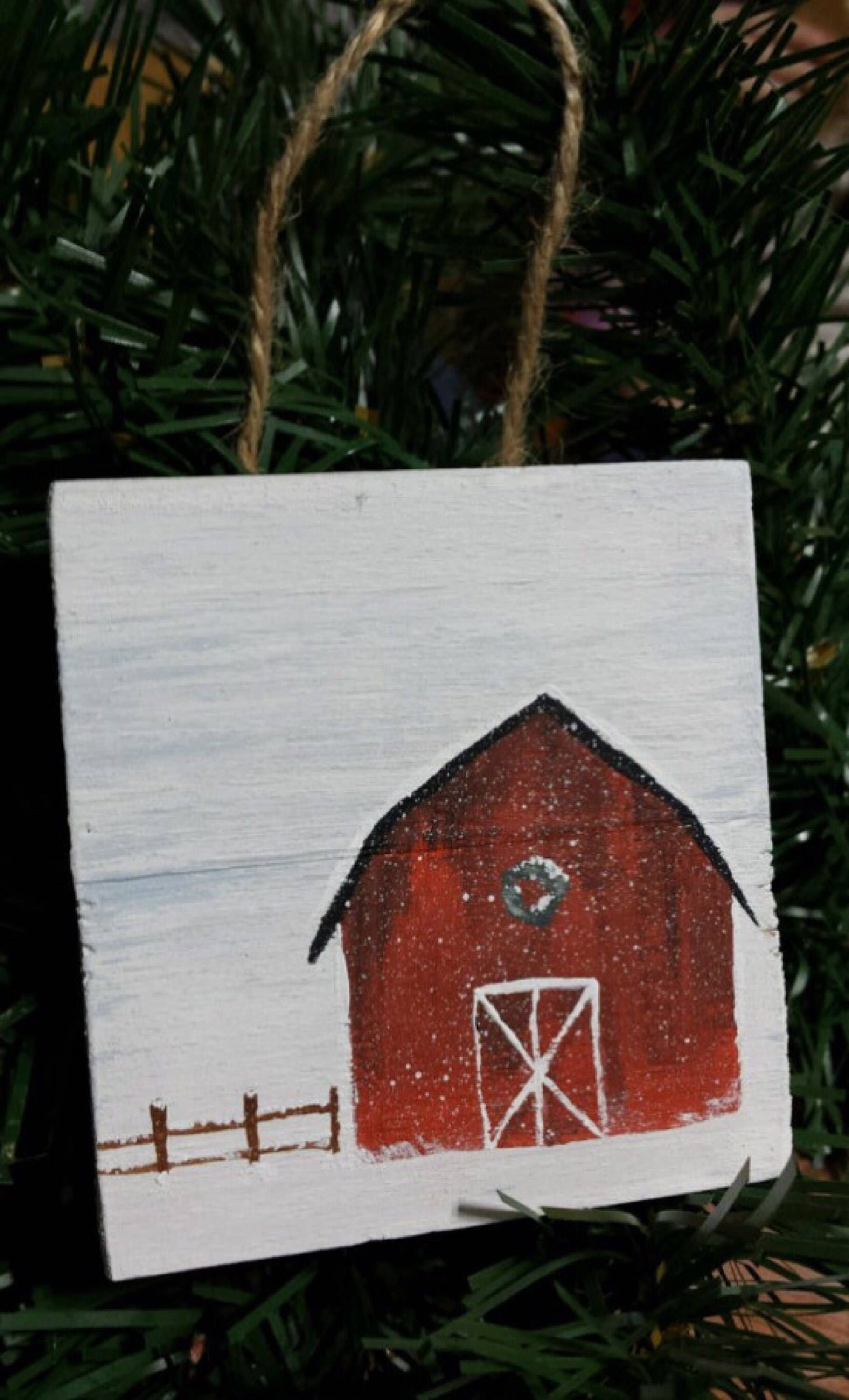 "Snowy Barn Farm Scene Wooden Christmas Ornament, Rustic, Farmhouse, Cottage, 3"" x 3"" Ornament or Small Sign, Pallet Sign Winter Office Decor by Khicktiques on Etsy https://www.etsy.com/listing/526996630/snowy-barn-farm-scene-wooden-christmas"