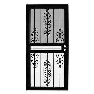 Unique Home Designs 36 In X 80 In Guardian Black Surface Mount Outswing Steel Security Door With Tan Perforated Aluminum Screen Idr10000362003 Puertas De Metal Puertas De Hierro Puertas