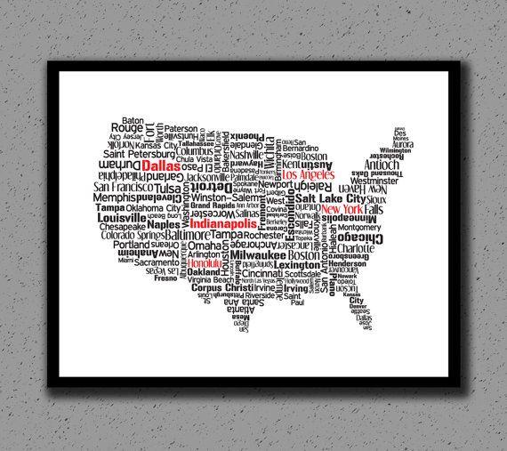 United States Us Usa Print Art Map State Wall