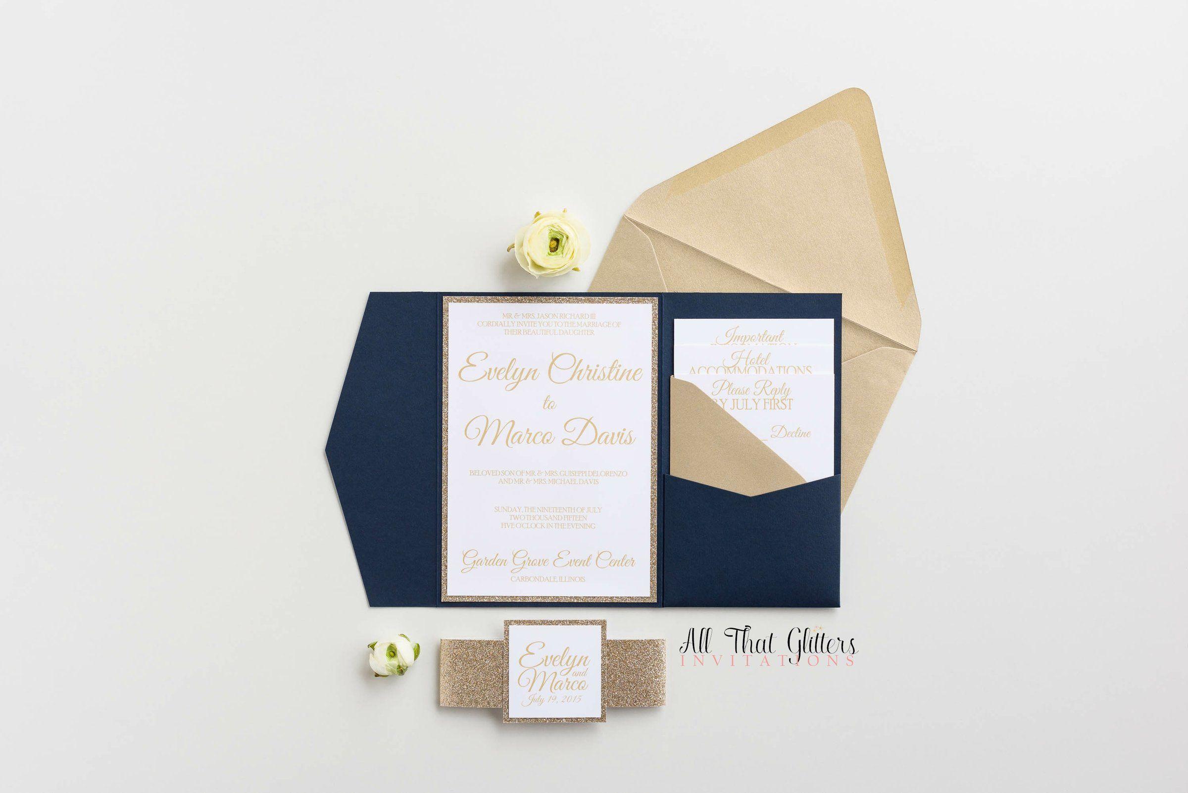 Elegant glitter pocketfold wedding invitation evelyn