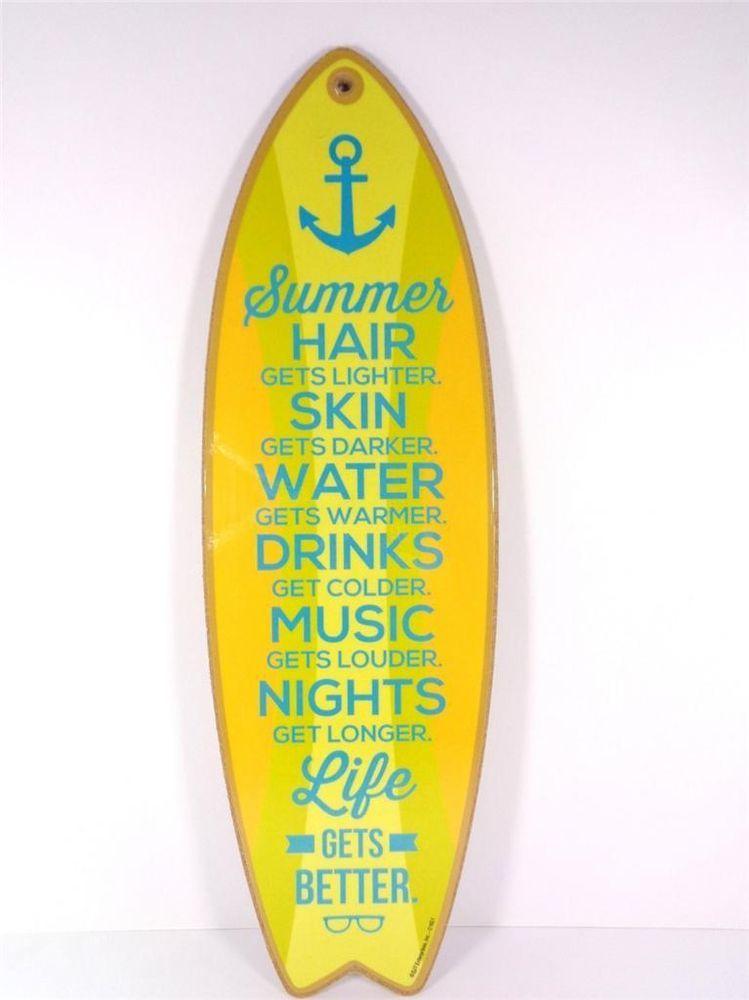Summer gets warmer life gets better surfboard decorative beach bar ...