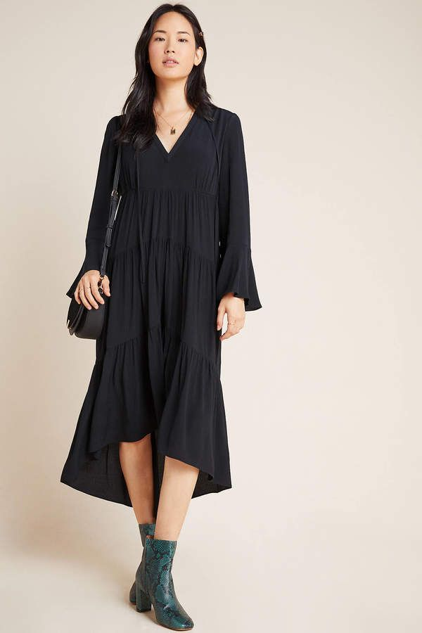 Cosima Tiered Maxi Dress #blackmaxidress