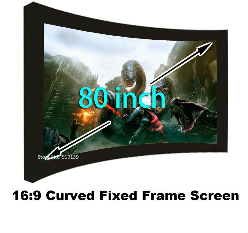 326.80$  Buy now - http://aliqx9.worldwells.pw/go.php?t=32414502117 - New Arrival Matt White Projection Screen 80 Inch Curved Fixed Frame Projector View Screens 16:9 Wholesale Cheap Cost