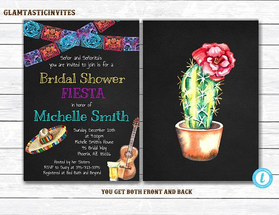 Mexican themed wedding shower invitations