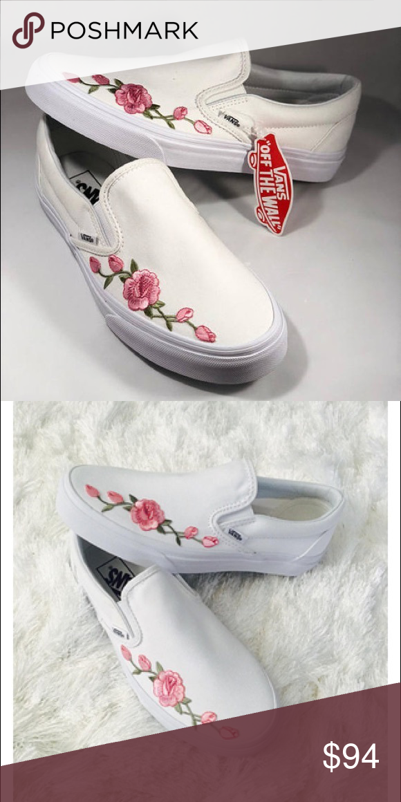 Rose embroided slip on vans White vans slip ons with custom rose embroidery  Vans Shoes b5b031839