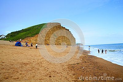 West Bay, also known as Bridport Harbour, is a small harbour settlement and resort on the English Channel coast in Dorset, England, sited at the mouth of the River Brit approximately 1.5 miles (2.4 km) south of Bridport. The area is part of the Jurassic Coast, a World Heritage Site.