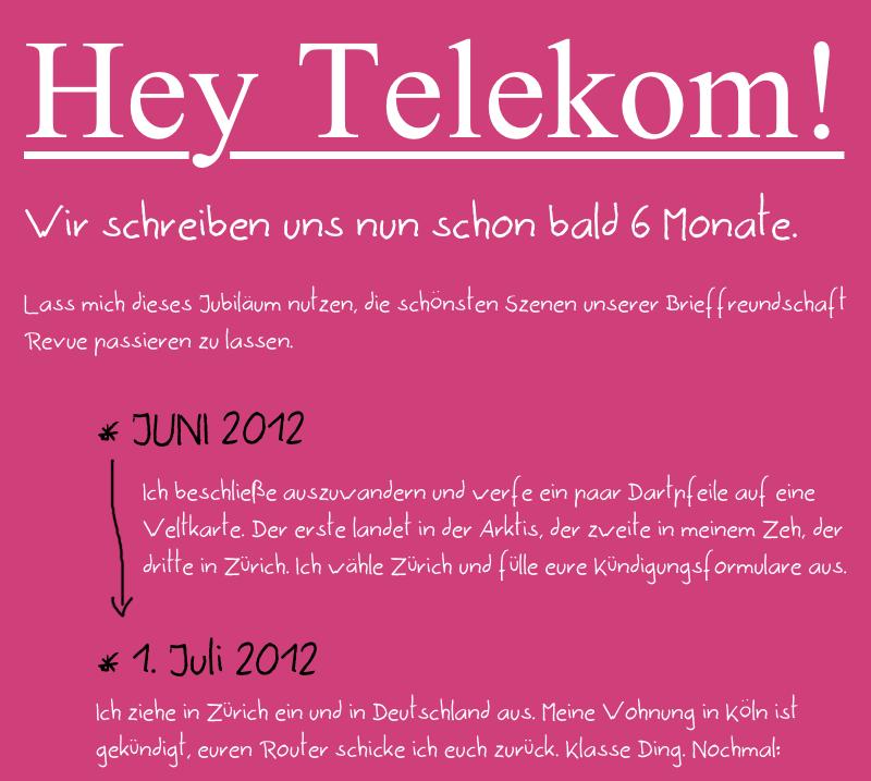 Liebevolle Aufarbeitung Einer Kleinen Reklamation An Die Telekom Shitstorm Telekom Telekom Brieffreundschaft Kundigung