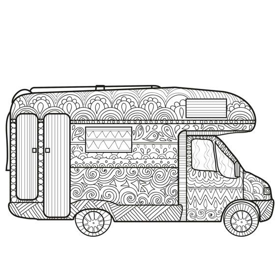 Printable Coloring Page Zentangle Camping Coloring Book | ADULT ...
