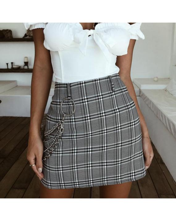 fb71d03cbe Adalicia Checks Chain Mini Skirt in 2019 | F I T S | Mini skirts ...