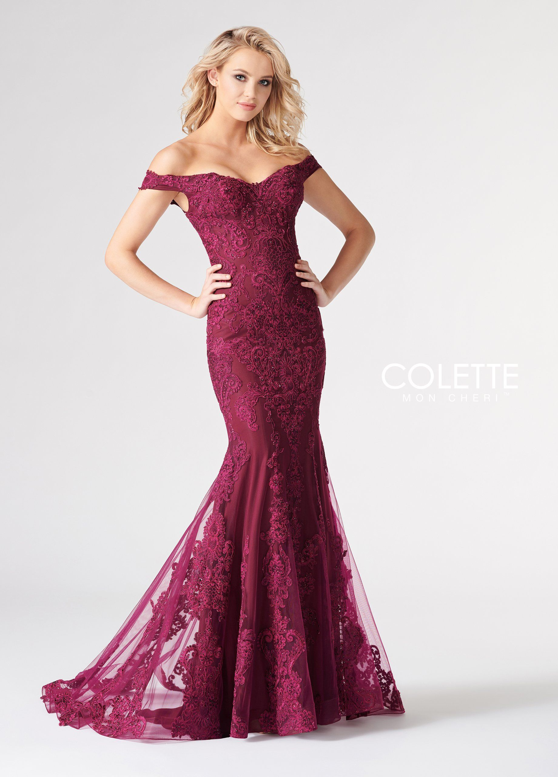 ea4a5885 Colette CL19814 Cranberry Off the Shoulder Lace Fit and Flare Prom Dress