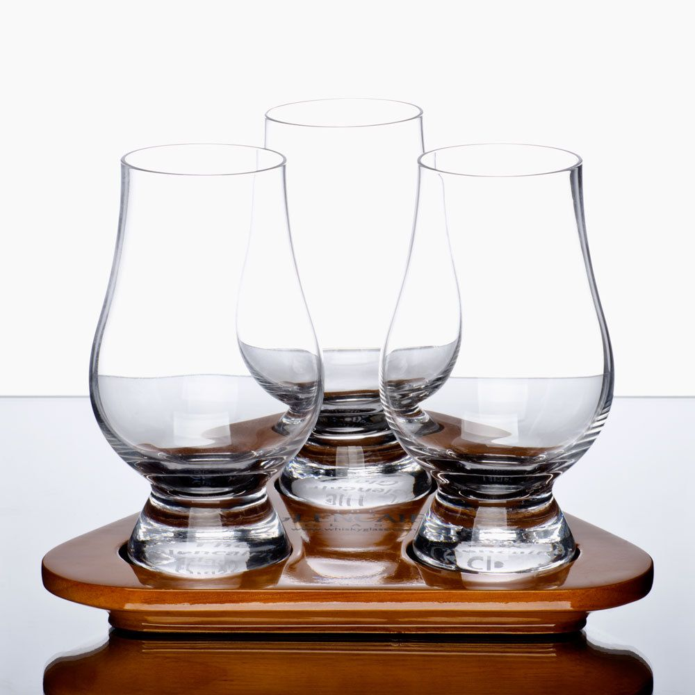 New Product and Great Gift: Anchor Hocking Stolzle Glencairn WhiskyTasting Set of (3) 6 oz. Glasses with Tray