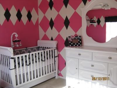 Abstract Extravaganza Baby Nursery Decor: As You Can See Our Pink, White  And Black Argyle Nursery Decor Is Very Different, Vibrant And Bold!