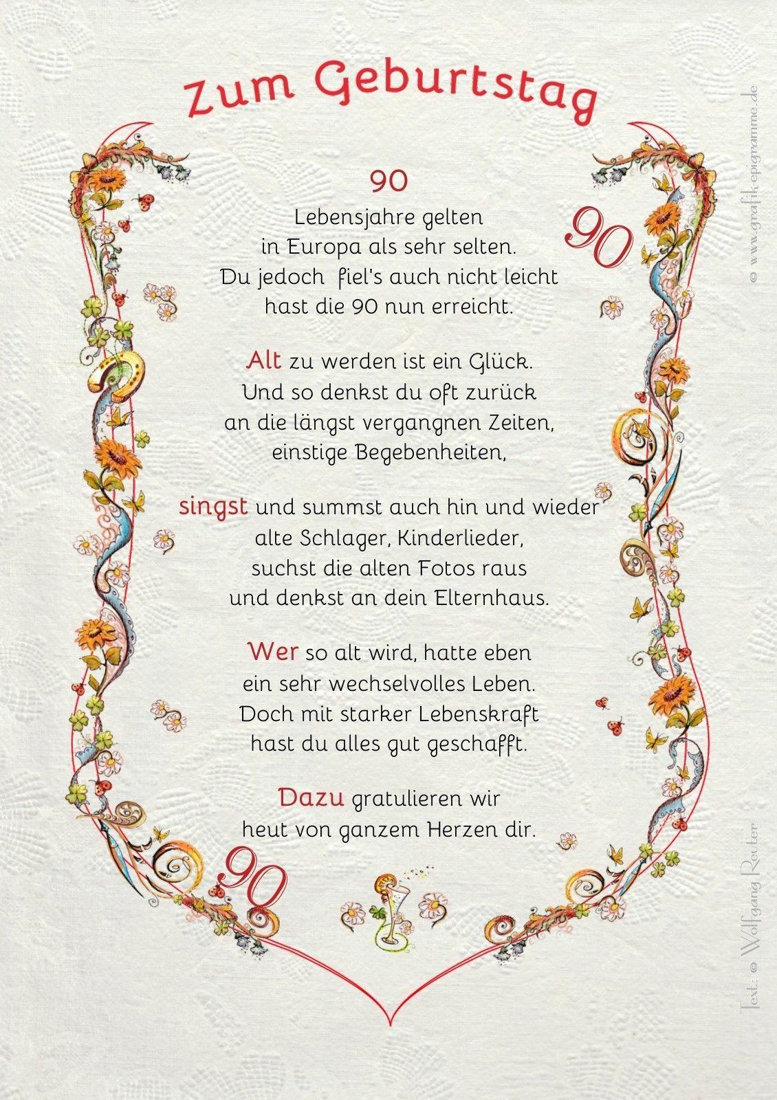 Spruch zum 90 geburtstag mann