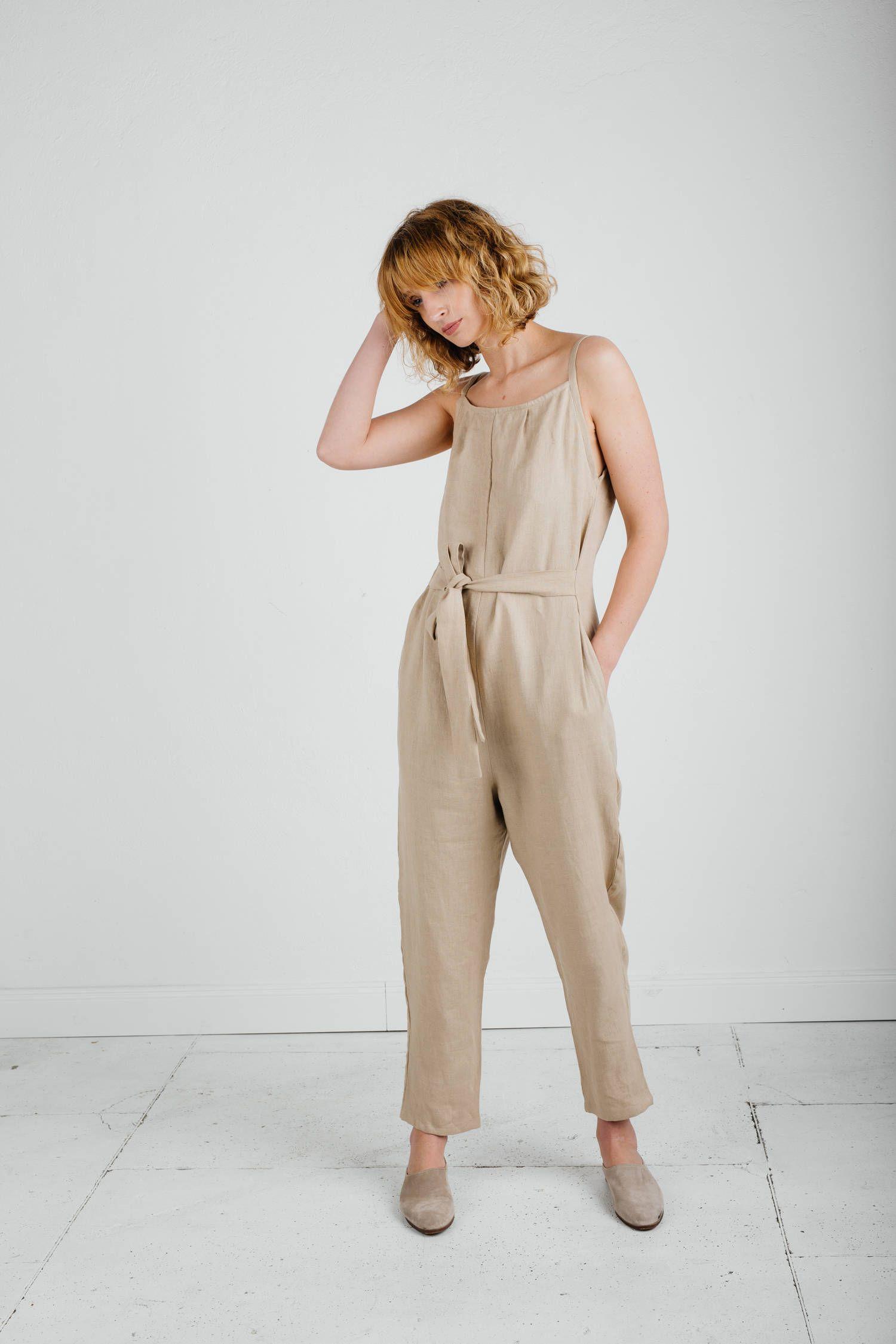 c3b2ca70f278 Linen Jumpsuit - Beige Linen Jumpsuit - Shoestring Jumpsuit - Linen ...