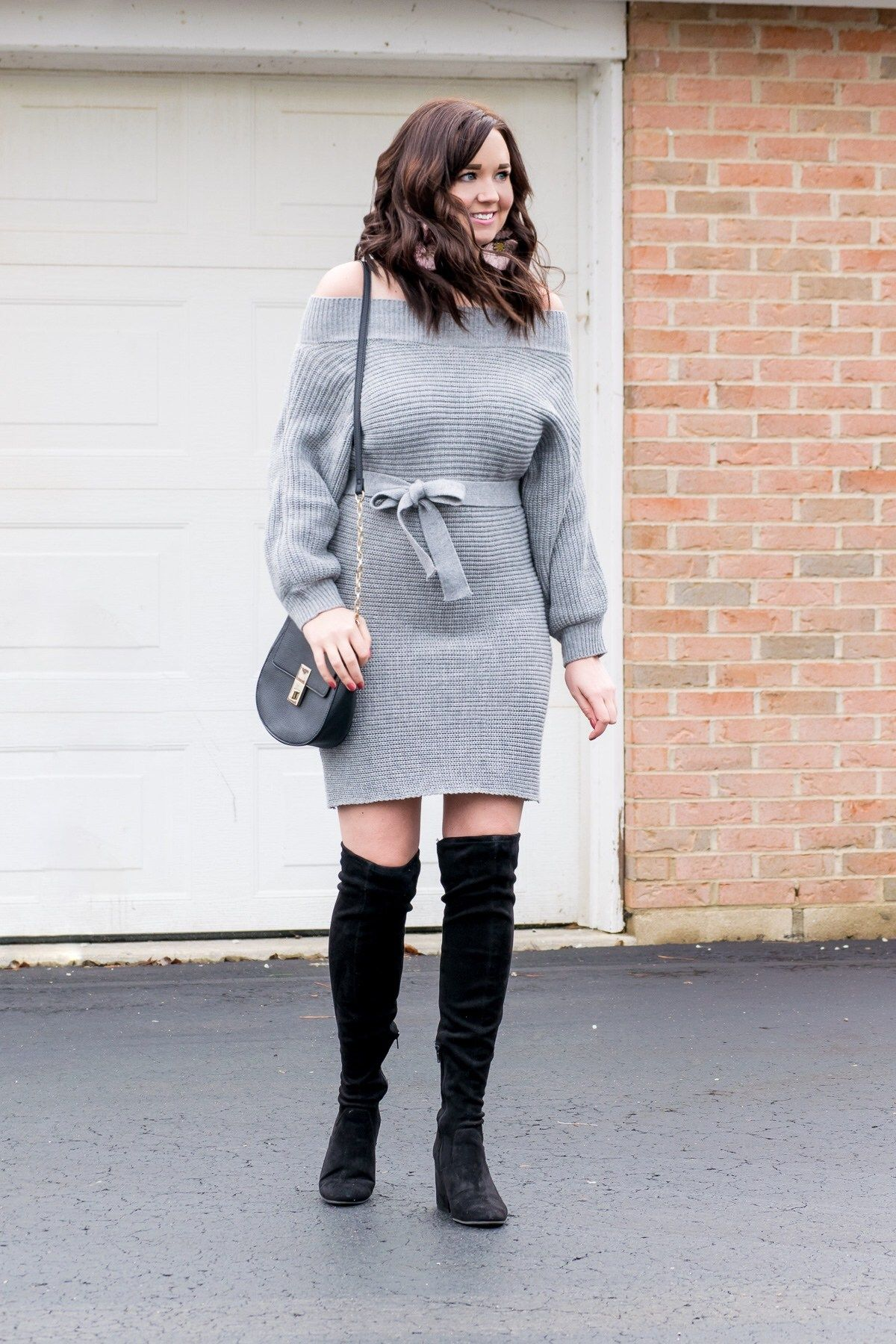 Affordable Grey Off-the-Shoulder Sweater Dress | www.aclassicambition.com