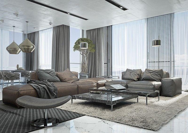 Stilvolles Wohnzimmer mit weißem Marmorboden Keramikplatten