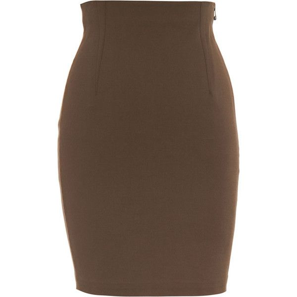 T by Alexander Wang Pencil Skirt - Bark size Medium ($59) ❤ liked on Polyvore featuring skirts, bottoms, saias, gonne, women, clothing & accessories, pencil skirt, high waist knee length pencil skirt, knee length pencil skirt and brown skirt