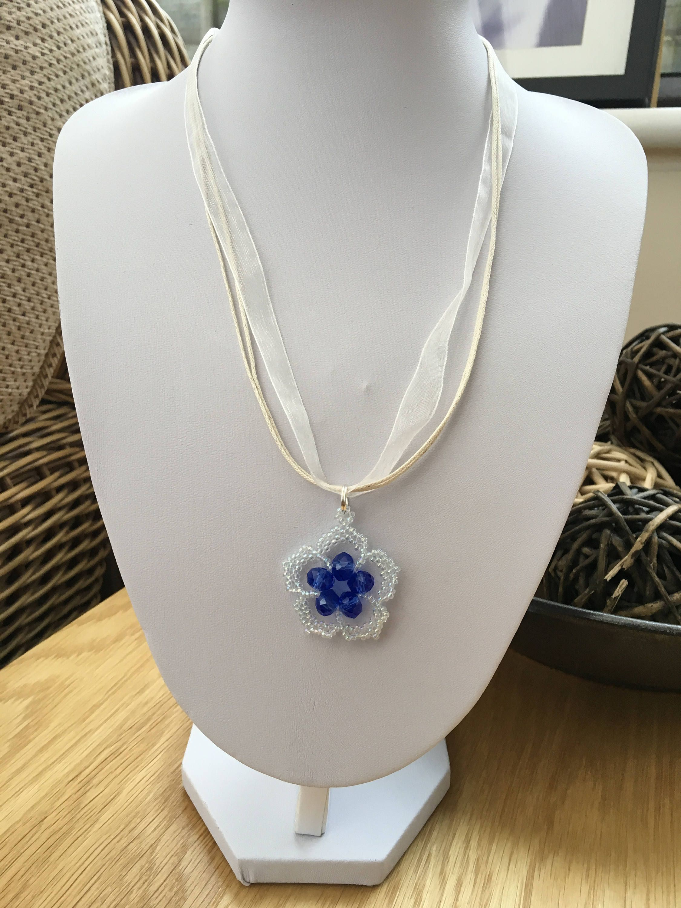 Beaded pendant organza and cord necklace blue necklace