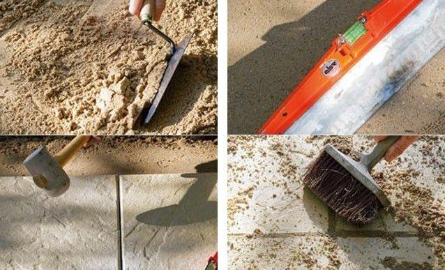 Carrelage extérieur  pose sur lit de sable