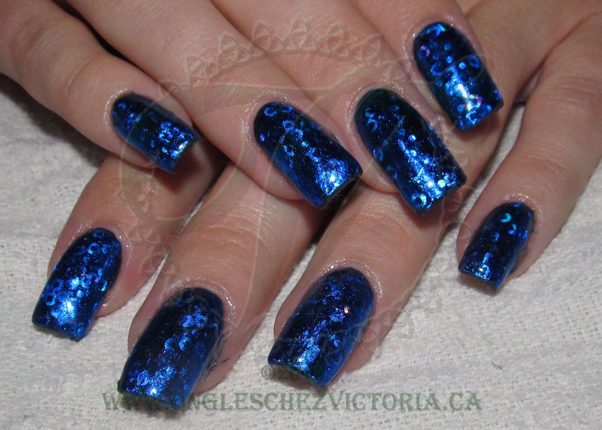 Acrylic overlay with blue Transfer foils