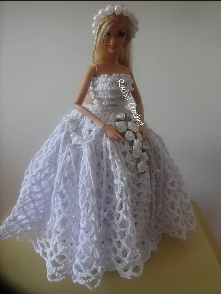 barbie #noiva #novia #bride #crochet #doll #barbante