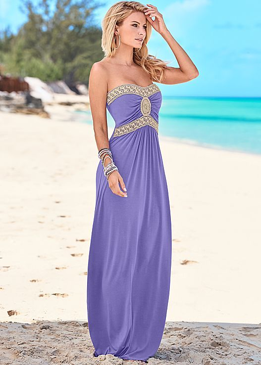 d6badd43e3e3 Calling all gorgeous goddesses! It's your time to shine! Venus crochet  detail maxi dress.