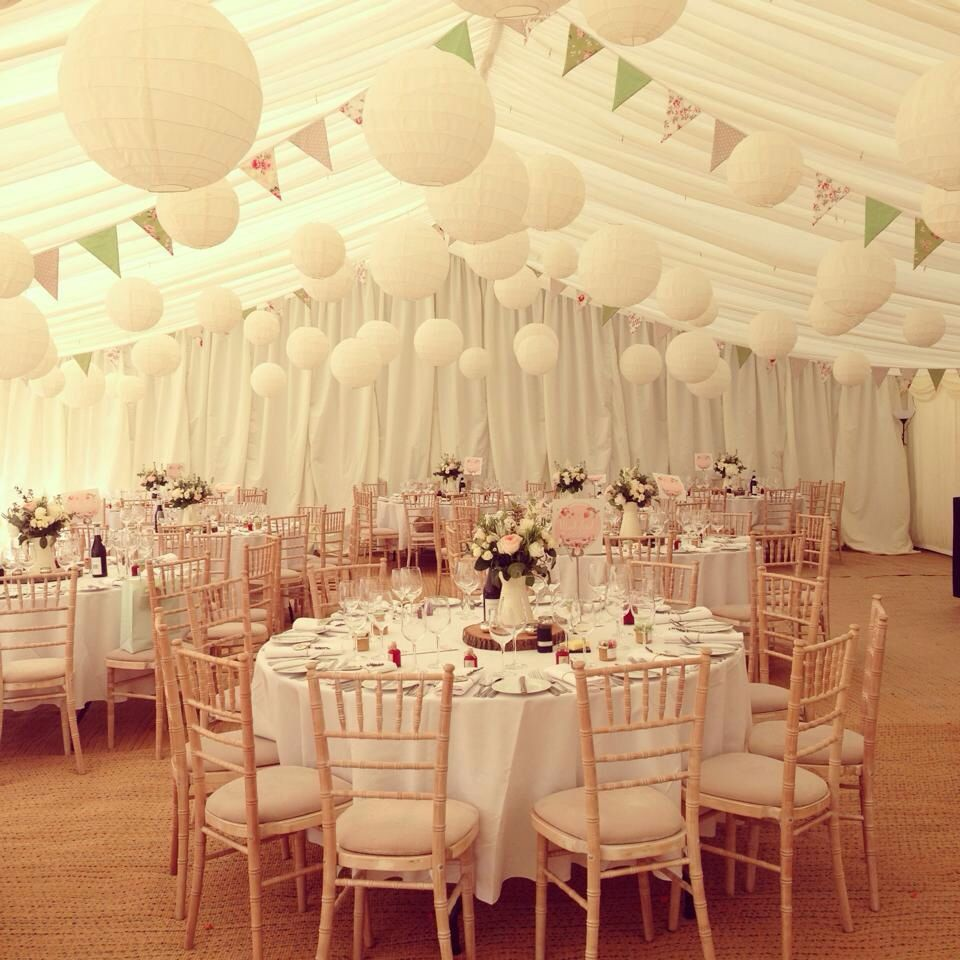 Wedding marqueehomemade bunting and paper lanterns simple for an english country garden wedding use our ivory irregular style paper hanging lanterns for a slight vintage touch why not team your lanterns with our junglespirit Image collections