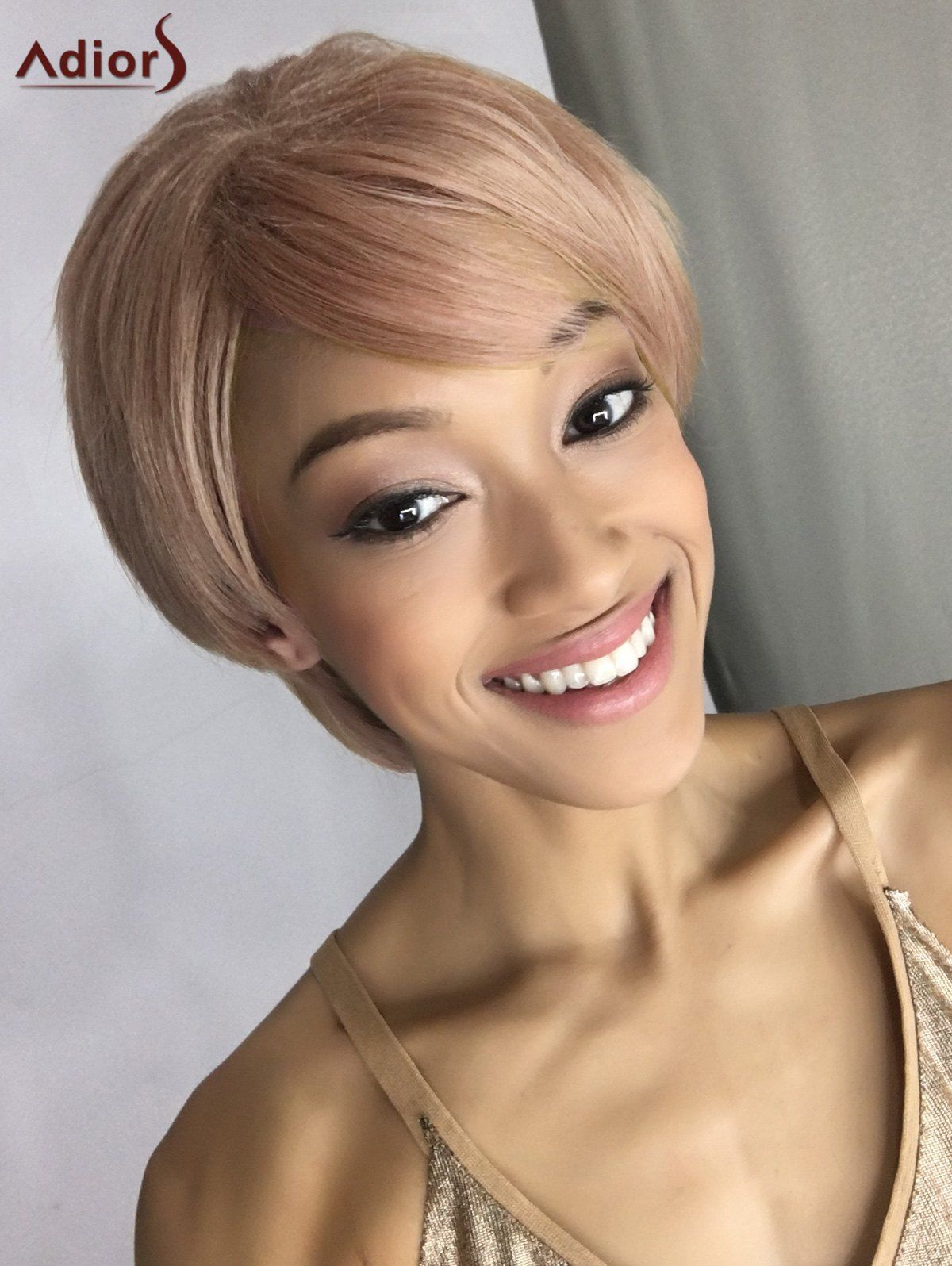 Short double color fluffy side bang straight synthetic capless wig