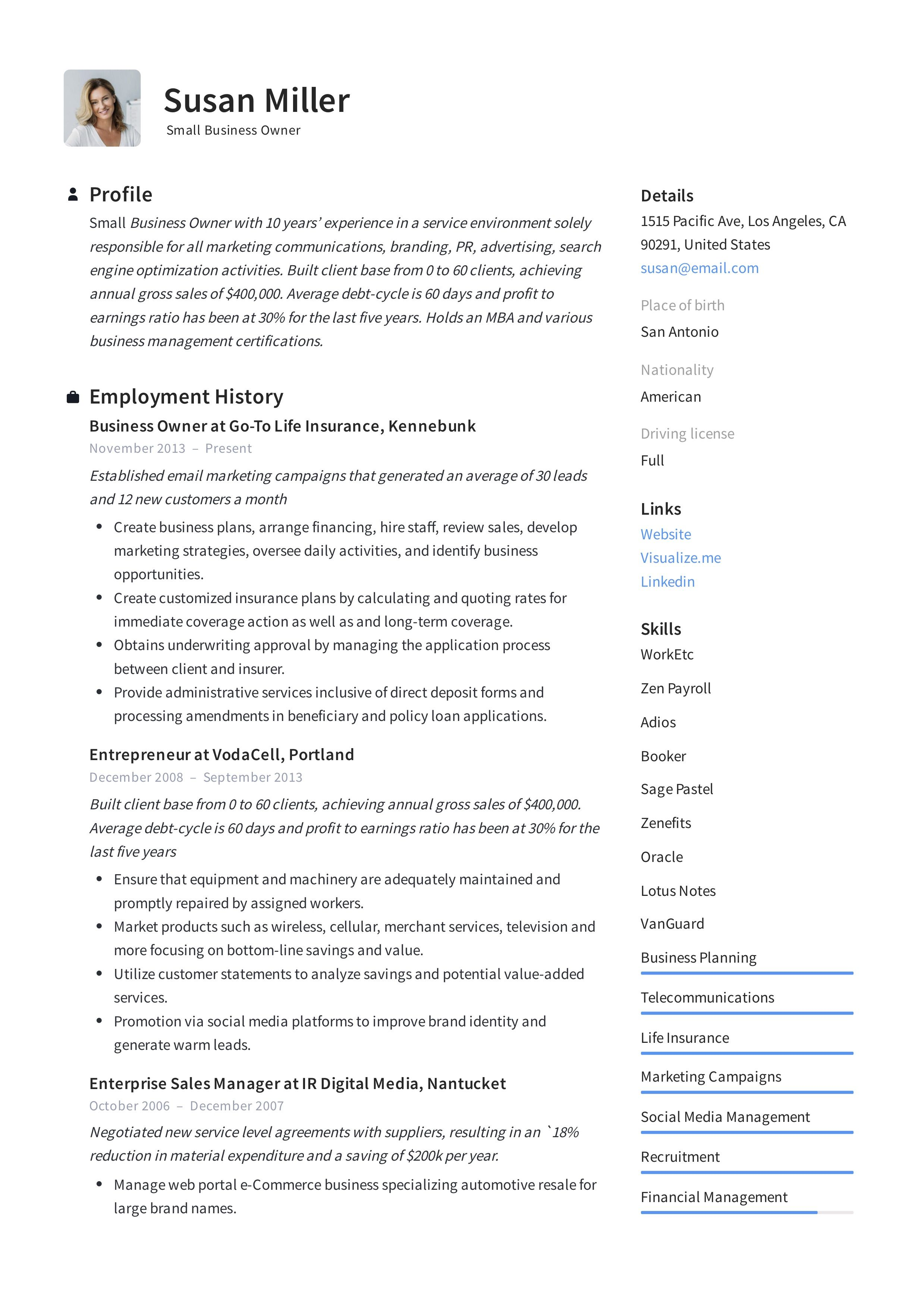 Modern Small Business Owner Resume, template, design, tips