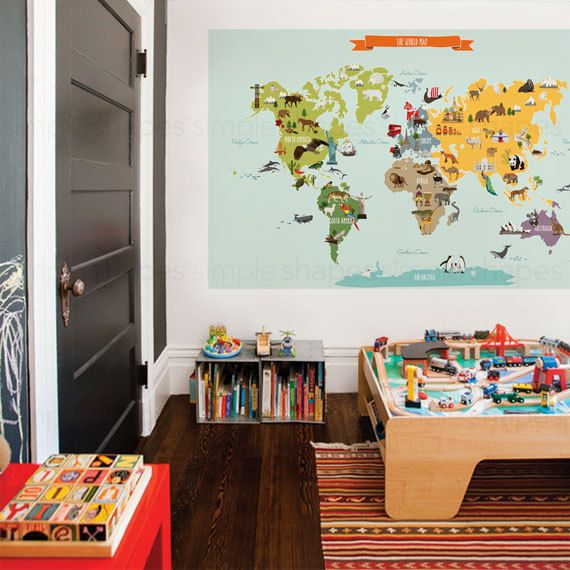 World map peel and stick poster sticker by simpleshapes on etsy the world map peel and stick repositionable fabric stickers simple shapes wall decals furniture and accessories gumiabroncs Gallery